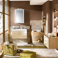 Modern Bathroom With Brown Color.