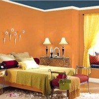 Orange Bedroom Design Ideas Orange Bedroom Wall Paint Color With Blue