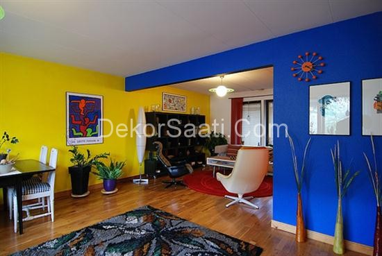 Room Interior Blue Yellow Wall Paint Color Decor and Design.